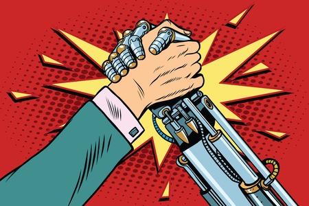 El hombre contra el robot Brazo enfrentamiento de lucha libre lucha