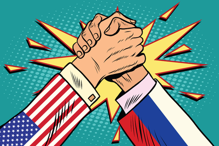 first house: USA vs Russia Arm wrestling fight confrontation