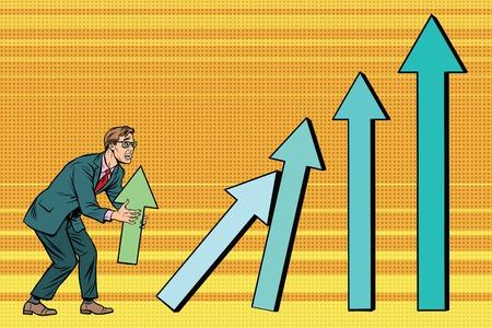 Businessman destroys growth charts sales. Pop art retro vector illustration. A bad worker Stock Illustratie