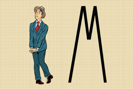 groin: Retro man wants to piss in the toilet. Pop art retro vector illustration