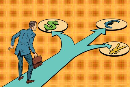 Financial crossroads, a choice of currencies. Pop art retro vector illustration