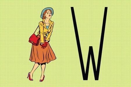Retro woman wants to pee in the toilet. Pop art retro vector illustration