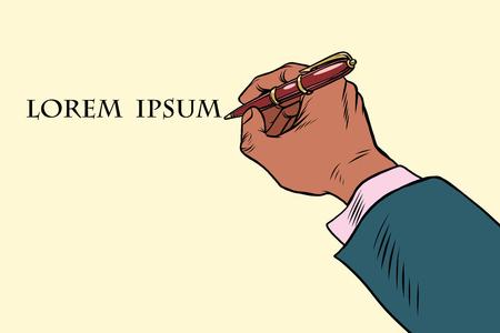 Businessman signs a document with a pen. Pop art retro vector illustration Illustration