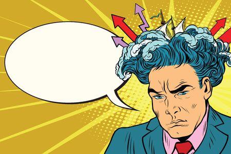 descubridor: Brainstorm man thinks. Pop art retro vector illustration, comic bubble Vectores