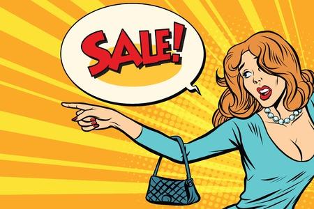 La femme indique les ventes