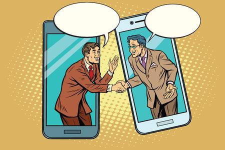 Online the talks of the two businessmen Illustration