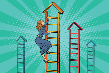 Businesswoman climbing up the business ladder. Pop art retro vector illustration Illustration