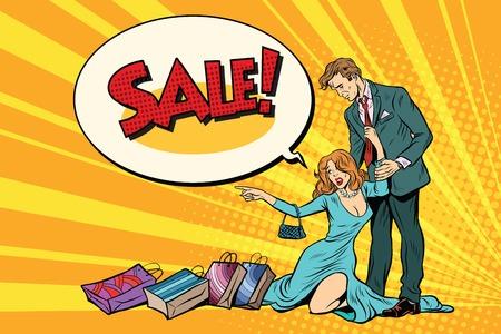 Vrouw en echtgenoot in verkoop Stock Illustratie