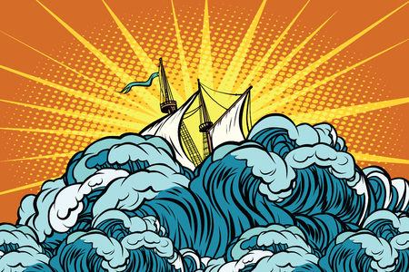 Retro zeilschip zinkt in stormachtige golven
