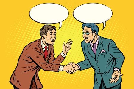 politeness: Business negotiations businesspeople shaking hands. Pop art retro vector illustration