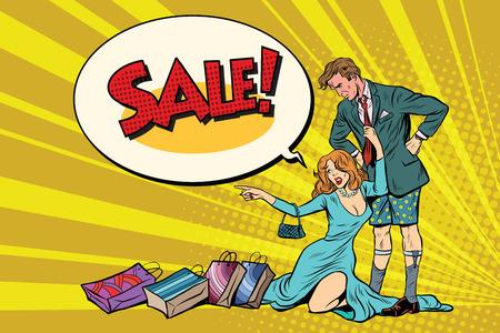 바지와 아내가없는 파괴 된 남편이 팔려고한다.
