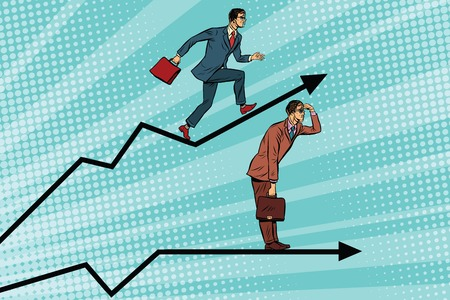 action fund: Businessmen running chart growth and look forward