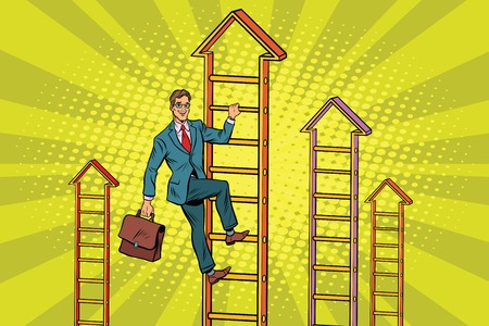 Businessman climbs up the stairs. Pop art retro vector illustration
