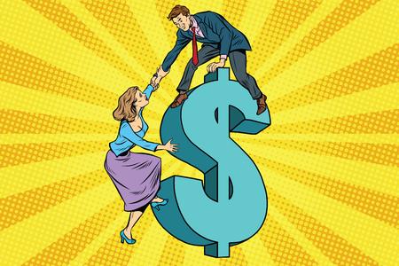 funding: Business team scrambles on the dollar. Pop art retro vector illustration. Family finances