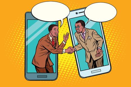 Online the talks of the two businessmen Ilustração