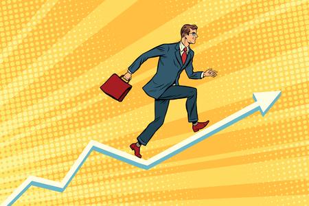 action fund: Businessman running on schedule growth Illustration