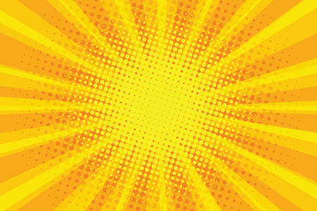 Gelbe orange Sonne Pop Art Retro Strahlen Hintergrund