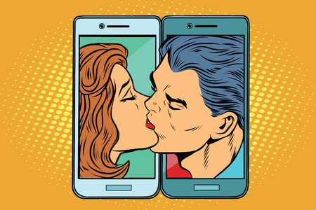 Retro man and woman kissing through a smartphone Çizim
