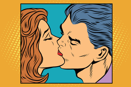 Poster man and woman kissing