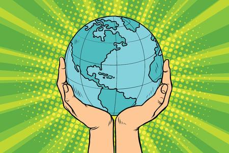 Blauwe planeet aarde in menselijke handen. Pop art retro vector illustratie