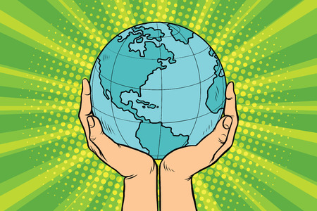 Blue planet Earth in human hands. Pop art retro vector illustration