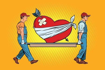 Valentine, wounded heart in love carry movers. Pop art retro vector illustration