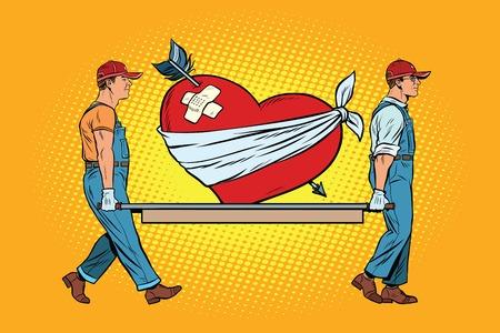 Valentijn, gewond hart in liefde dragen verhuizers. Pop art retro vector illustratie Stock Illustratie