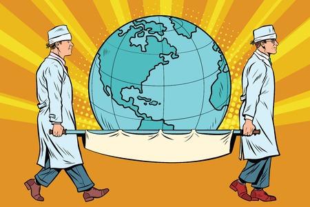 medics carry the planet Earth on a stretcher. Pop art retro vector illustration