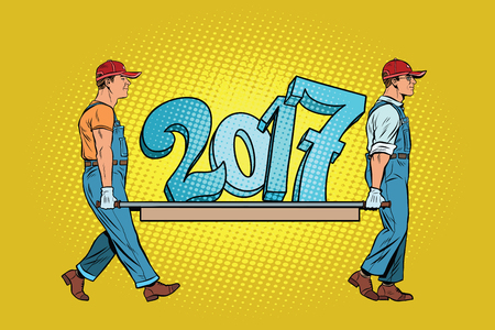 The ending 2017, figures carry movers. Pop art retro vector illustration. Old and New year