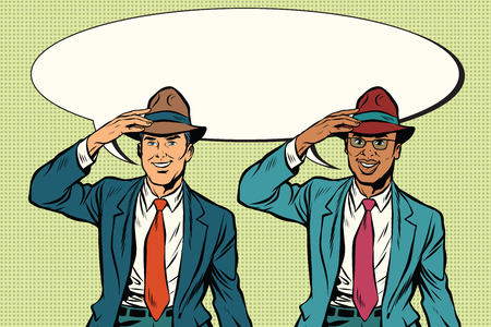 Joyful white and black businessmen in retro hats. Pop art retro vector illustration Illustration