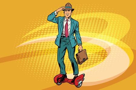 Retro businessman on steampunk rocket skateboard. Pop art vector illustration