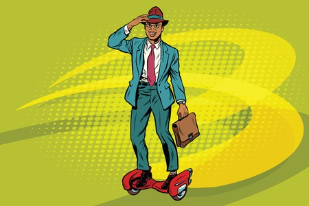 Retro businessman on steampunk rocket skateboard. Pop art vector illustration. African American businessman