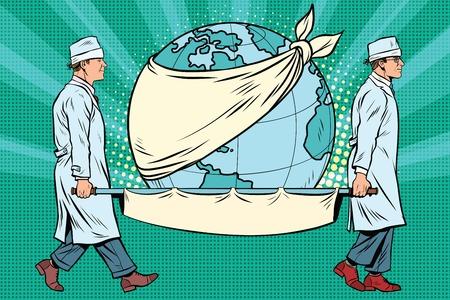 día de la tierra, las enfermeras y un planeta enfermo. El arte pop retro ilustración vectorial