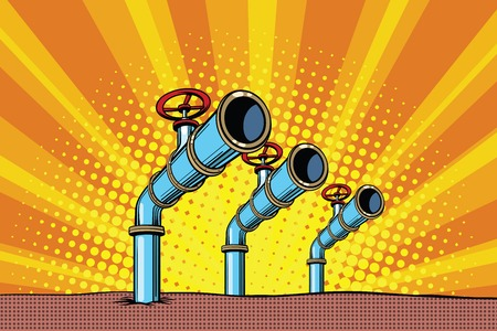 Three oil pipes. Pop art retro comic book vector illustration. Resource energy Illustration