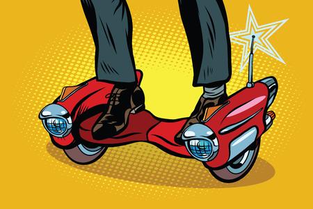 Futuristic steampunk scooter skateboard. Pop art retro comic book vector illustration Illustration