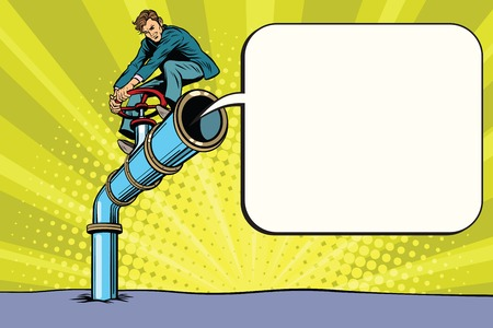 To block comments, a way of censorship. Retro politician on the tube. Pop art comic book vector illustration