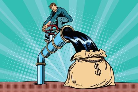 Retro businessman fills the oil in the bag of money. Pop art comic book vector illustration