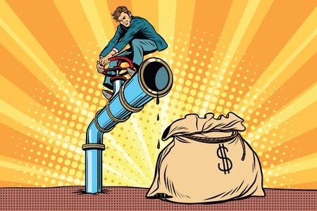 Businessman closes the tap oil pipe, a bag of money. Pop art retro comic book vector illustration