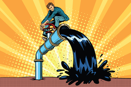 油汚染はチューブの実業家。ポップアート レトロ漫画のベクトル イラスト。エコロジーや自然を守る