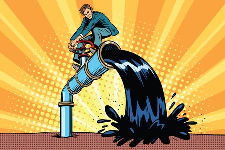 Olie vervuilt, zakenman op de buis. Pop art retro comic book vector illustratie. Ecologie en het opslaan van de natuur