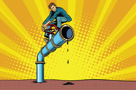 businessman closes the oil pipe. Pop art retro comic book vector illustration. Ecology and nature