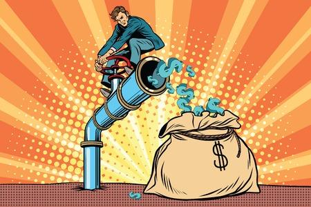 De financier zittend op cash buis. Pop art retro comic book vector illustratie Stock Illustratie