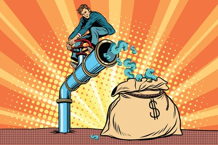 The financier sitting on cash tube. Pop art retro comic book vector illustration Illustration