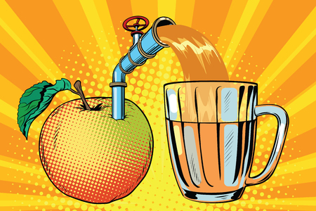 Apple juice is poured into a mug. Pop art retro comic book vector illustration. Illustration