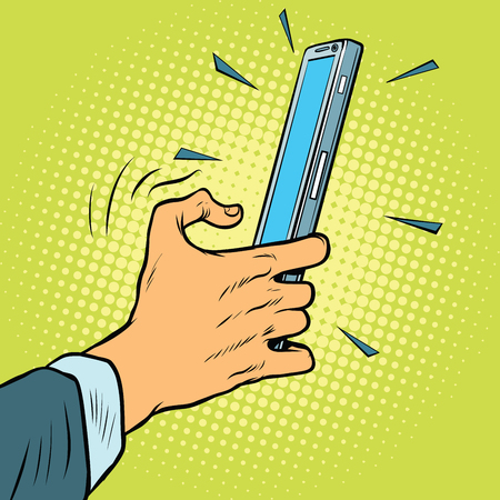 using tablet: Touch gesture on a smartphone. Pop art retro comic book vector illustration.