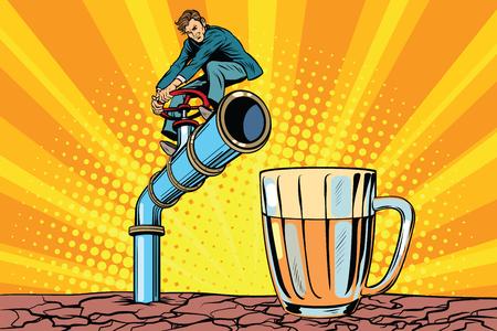 Retro businessman opens a faucet pipe for beverage. Pop art retro comic book vector illustration.