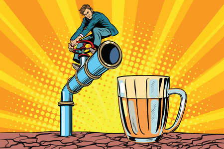 space station: Retro businessman opens a faucet pipe for beverage. Pop art retro comic book vector illustration.