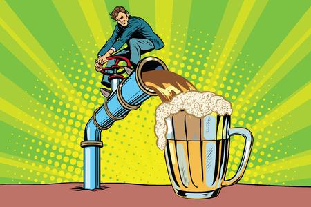 Mężczyzna nalewa piwo. Ilustracja wektorowa komiksu pop-artu retro. Pub Oktoberfest Ilustracje wektorowe