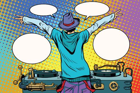 Panneau de vinyle DJ party, vue de derrière Banque d'images - 75483193