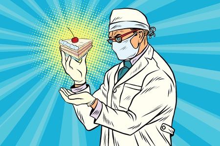 Laboratory scientist analyzes a piece of cake